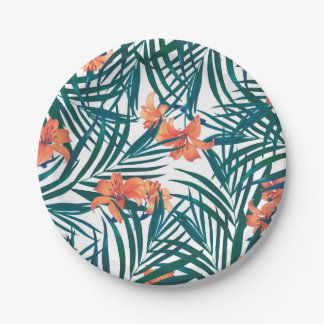 Tropical Lilies Party Paper Plates 7 Inch Paper Plate