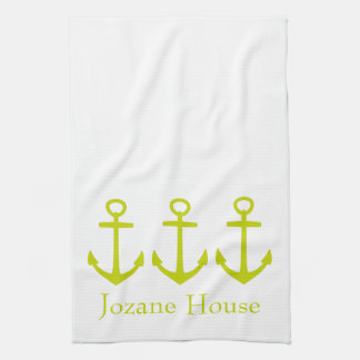 Tropical Lime Green Anchors on White Personalized Kitchen Towel