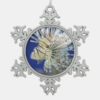 Tropical Lionfish Snowflake Pewter Christmas Ornament