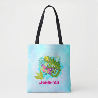 Tropical Lizard with Flowers On Turquoise Blue Tote Bag