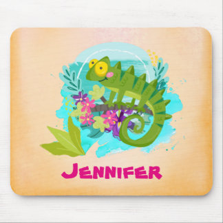 Tropical Lizard with Flowers Personalized Mouse Pad