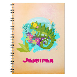 Tropical Lizard with Flowers Spiral Notebook
