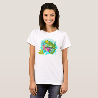 Tropical Lizard with Flowers T-Shirt