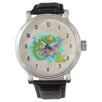 Tropical Lizard with Flowers Watch