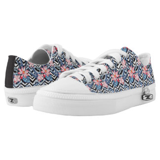 Tropical Lotus Flower Pattern Low-Top Sneakers