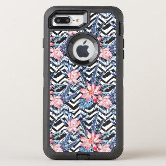 Tropical Lotus Flower Pattern OtterBox Defender iPhone 8 Plus/7 Plus Case