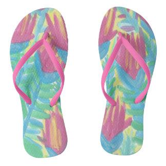 Tropical Lotus Garden Flip Flops