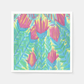 Tropical Lotus Garden Paper Napkins