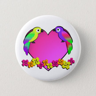 Tropical Love Birds 2 Inch Round Button