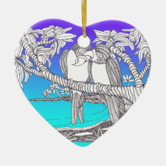 Tropical Love Birds in Paradise Blues Ornament