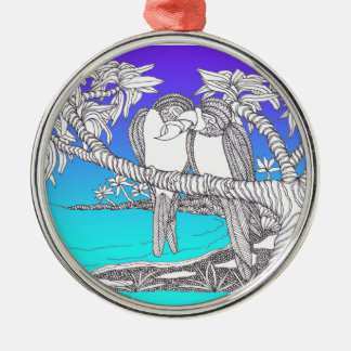 Tropical Love Birds in Paradise Blues Ornaments