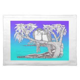 Tropical Love Birds in Paradise Blues Placemat