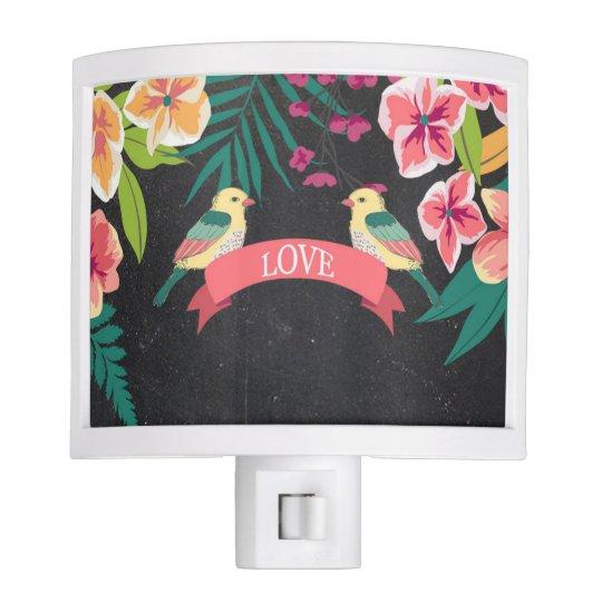 Tropical Love Birds Night Light