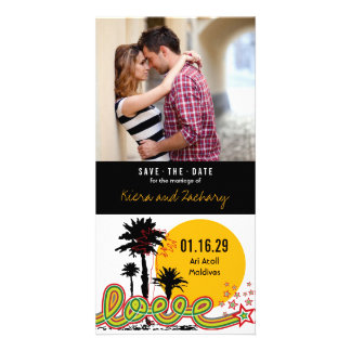 Tropical Love Summer Palm Trees Save The Date Custom Photo Card