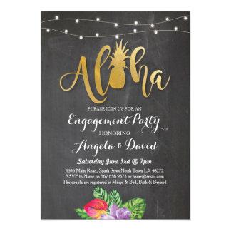 Tropical Luau Aloha Gold Floral Engagement Invite