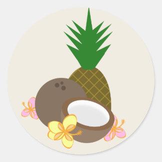 Tropical Luau Coconut Pineapple Hibiscus Round Sticker