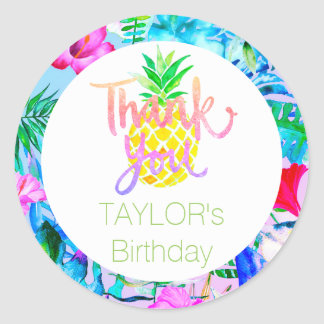 tropical luau party thank you classic round sticker