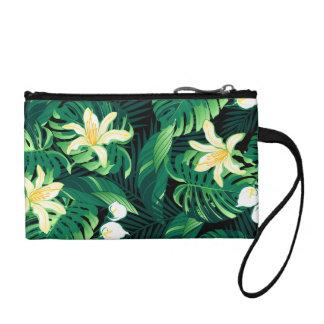 Tropical lush floral coin purse