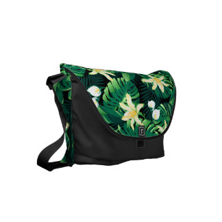 Tropical lush floral courier bags