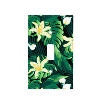 Tropical lush floral light switch cover
