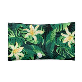 Tropical lush floral makeup bag