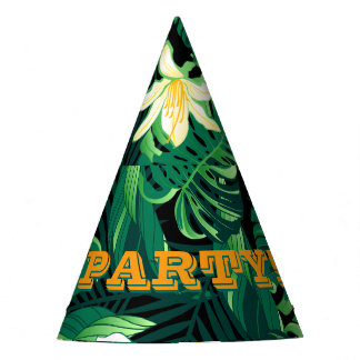 Tropical lush floral party hat
