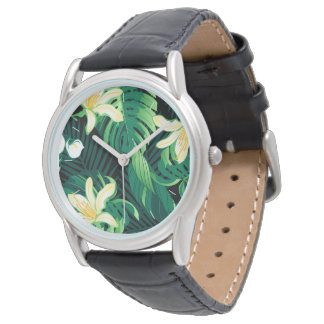 Tropical lush floral watch