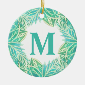 Tropical Lush of Leaves Monogram Ceramic Ornament
