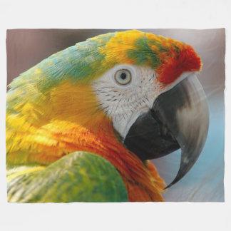 Tropical Macaw Parrot Fleece Blanket