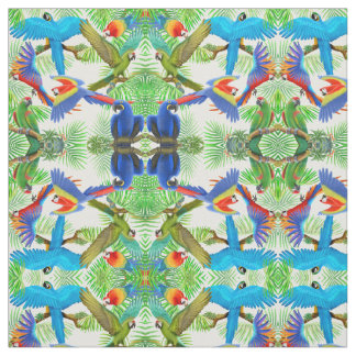 Tropical Macaw Parrot Jungle Fabric