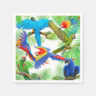 Tropical Macaw Parrot Jungle Napkins Paper Napkins
