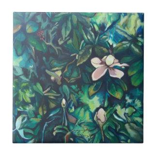 Tropical Magnolia ceramic floral tile