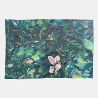 Tropical Magnolia floral kitchen towel