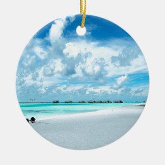Tropical Maldives Beach Harbour Ceramic Ornament