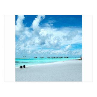 Tropical Maldives Beach Harbour Postcard