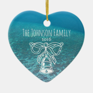 Tropical Maldives Blue Ocean Custom Family Photo Ceramic Heart Ornament