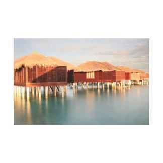 Tropical Maldives Summer Sunrise Beach Bungalow Canvas Print