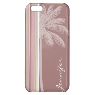 Tropical Mauve Brown Green Stripes iPhone 5C Cover