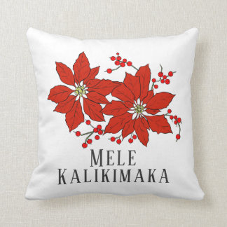 Tropical Mele Kalikimaka Hawaiian Throw Pillow