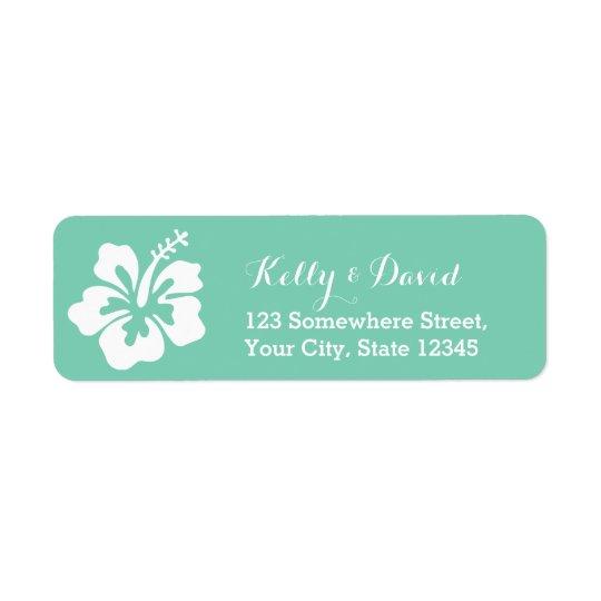 Tropical Mint Green Hibiscus Flower Return Address