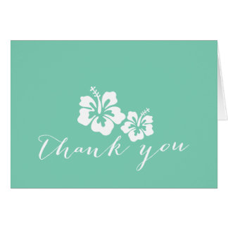 Tropical Mint Green Hibiscus Flowers Thank You Card