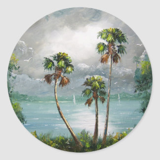 Tropical Misty Lake Classic Round Sticker