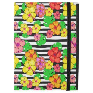 Tropical modern black and white stripe iPad Pro