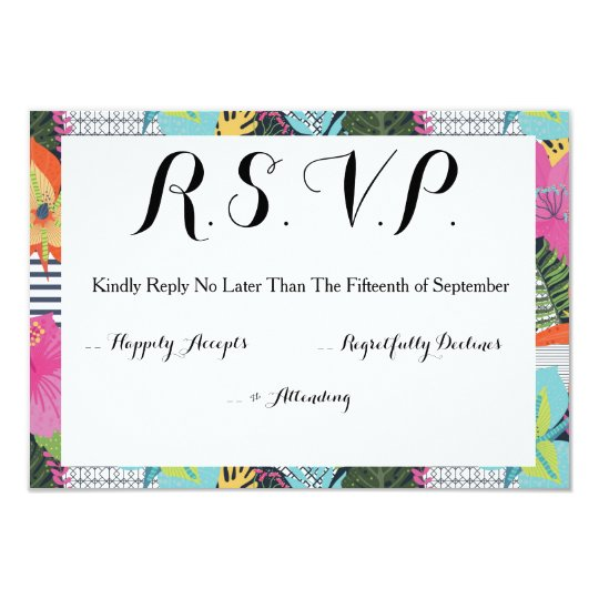 Tropical Modern Graphic Floral Wedding RSVP Card