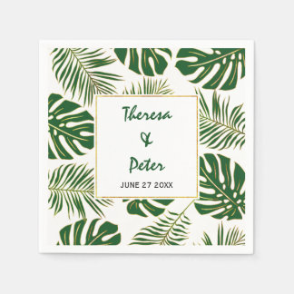 Tropical monstera and palm leaves modern wedding disposable napkins