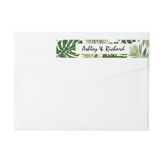 Tropical monstera and palm leaves wedding wrap around label