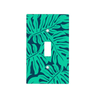 Tropical monstera leaf light switch cover