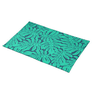 Tropical monstera leaf placemat