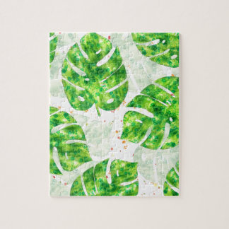 Tropical Monstera Leaves Unique Pattern Jigsaw Puzzle