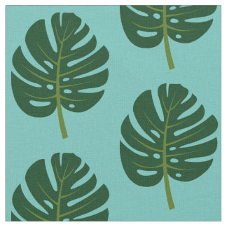 Tropical Monstera palm leaf floral print fabric